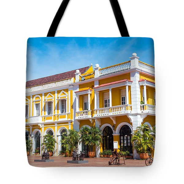 Yellow And White Colonial Building Tote Bag