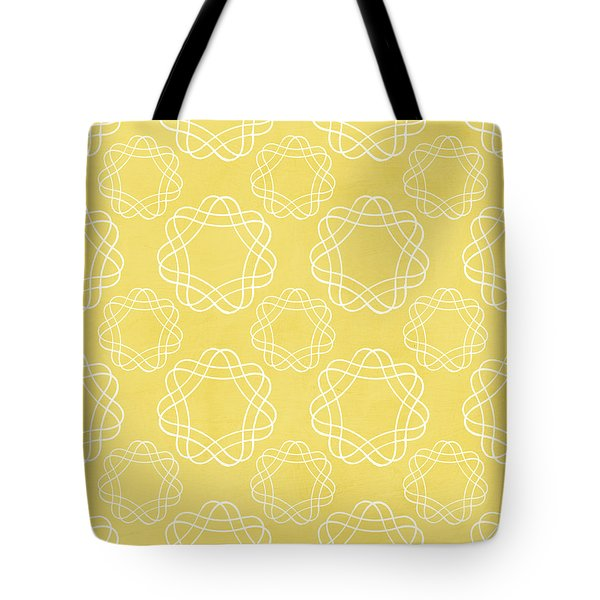 Yellow And White Geometric Floral  Tote Bag