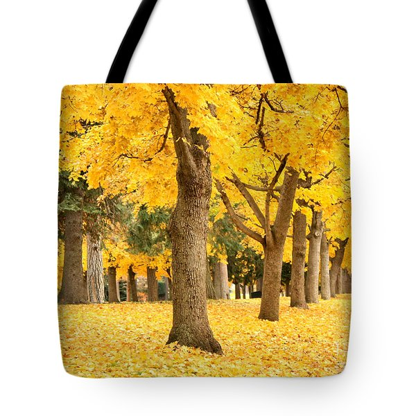 Yellow Autumn Wonderland Tote Bag by Carol Groenen