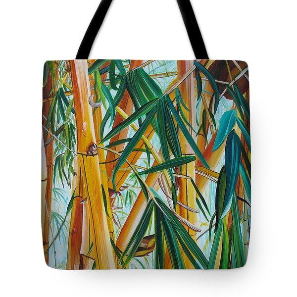 Tote Bag featuring the painting Yellow Bamboo by Marionette Taboniar