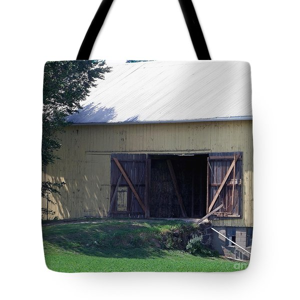 Tote Bag featuring the photograph Yellow Barn by Gena Weiser