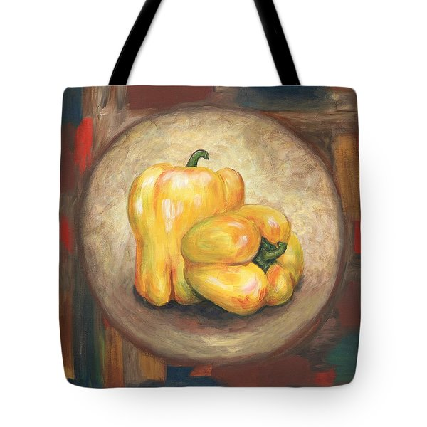 Yellow Bell Peppers Tote Bag by Linda Mears
