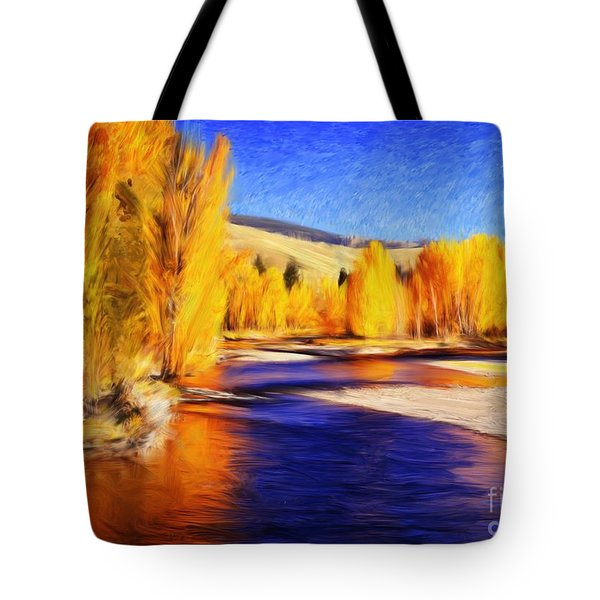 Yellow Bend In The River II Tote Bag by Joseph J Stevens