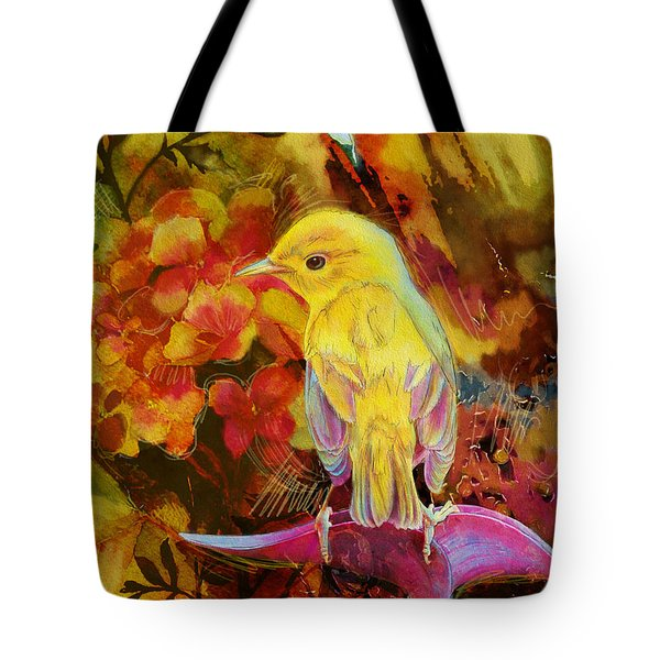 Yellow Bird Tote Bag by Catf