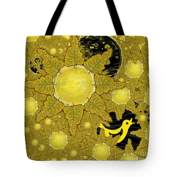 Yellow Bird Sings In The Sunflowers Tote Bag by Carol Jacobs