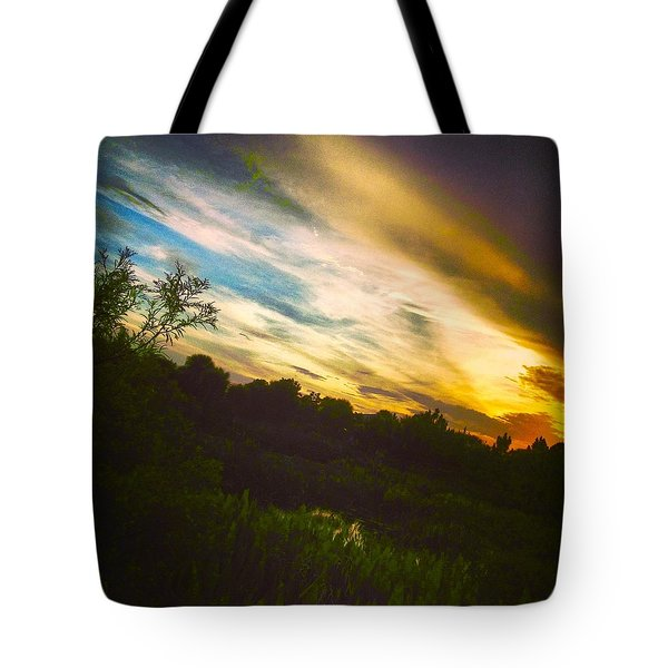 Yellow Blue And Green Tote Bag