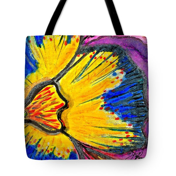 Tote Bag featuring the painting Yellow Blue Flower by Joan Reese