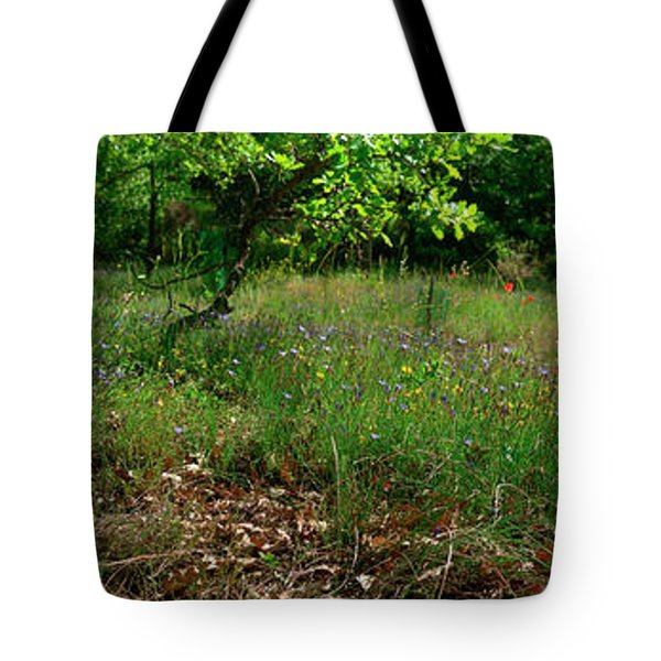 Yellow Broom Flowers And Blue Flowers Tote Bag