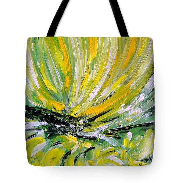 Tote Bag featuring the painting Yellow Butterfly by Jasna Dragun