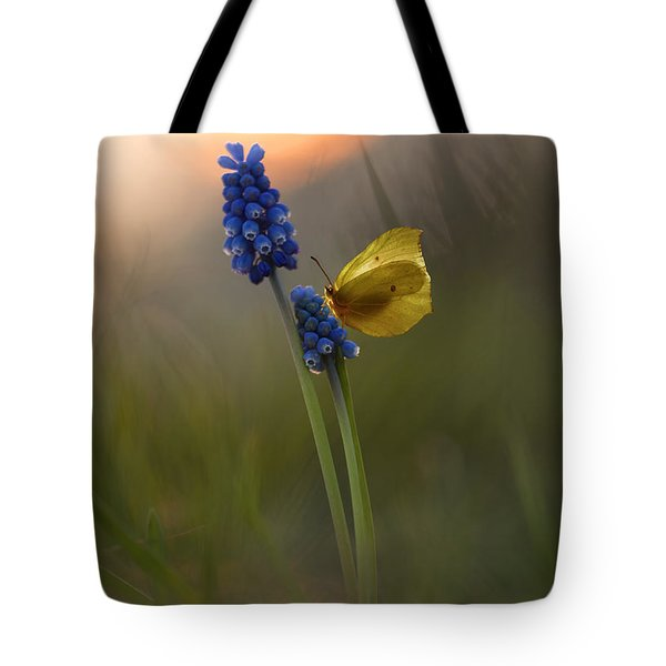 Yellow Butterfly On Grape Hyacinths Tote Bag