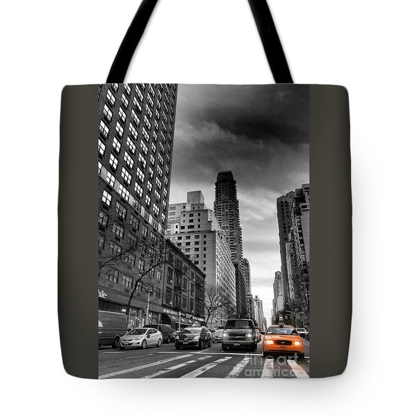 Yellow Cab One - New York City Street Scene Tote Bag by Miriam Danar