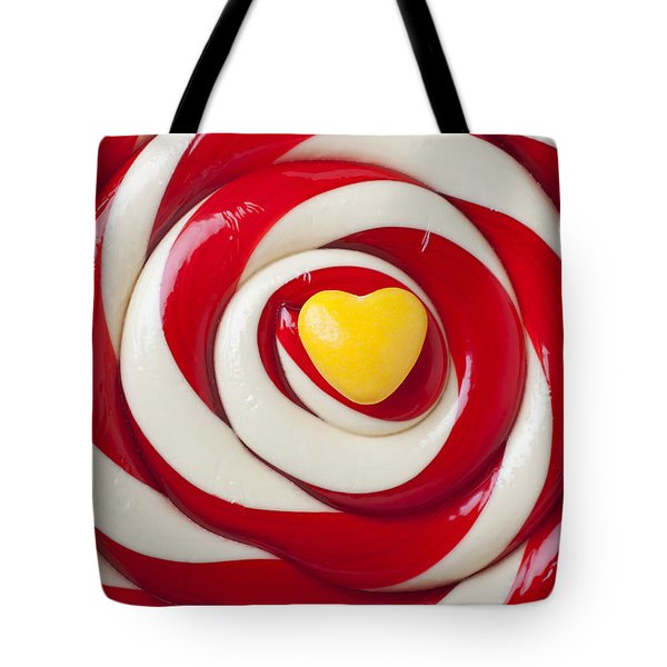 Yellow Candy Heart On Sucker Tote Bag by Garry Gay