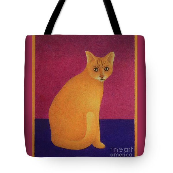 Yellow Cat Tote Bag by Pamela Clements