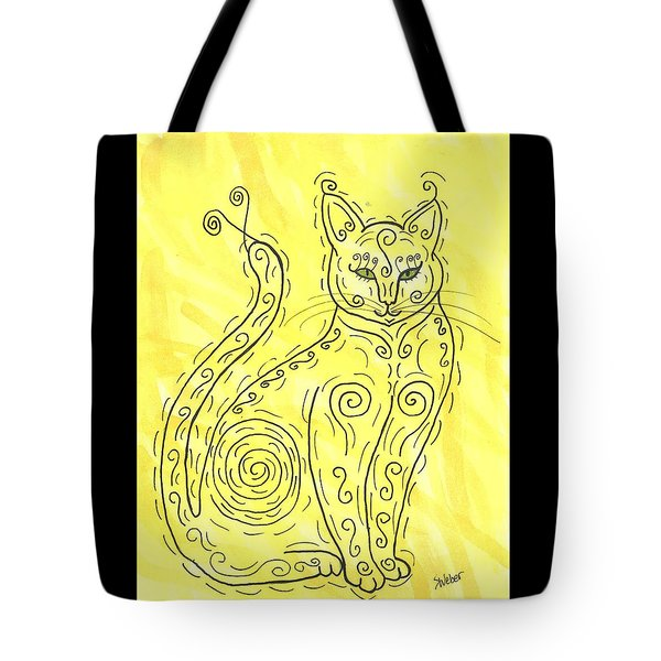 Tote Bag featuring the painting Yellow Cat Squiggle by Susie Weber