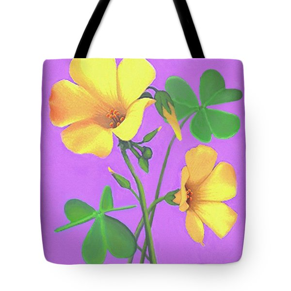 Tote Bag featuring the painting Yellow Clover Flowers by Sophia Schmierer