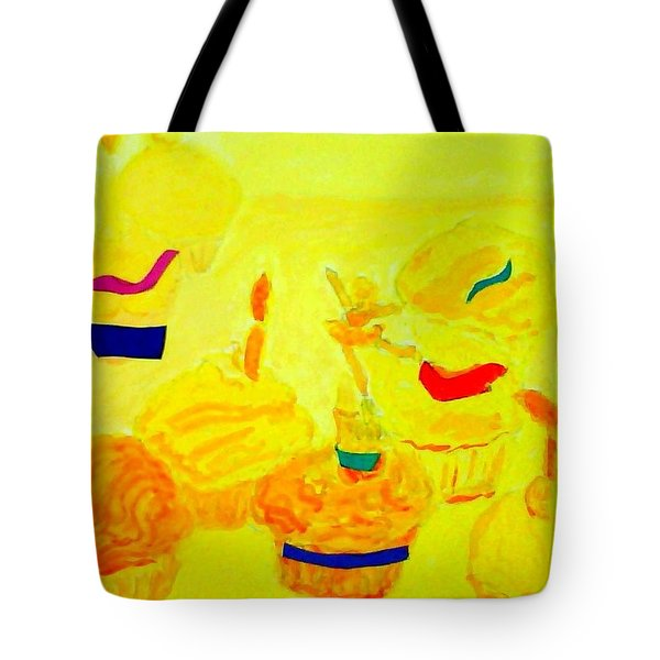 Yellow Cupcakes Tote Bag by Suzanne Berthier