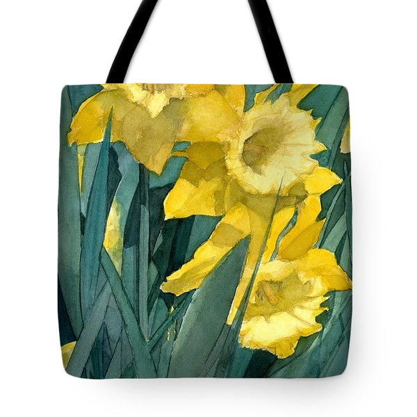 Watercolor Painting Of Blooming Yellow Daffodils Tote Bag