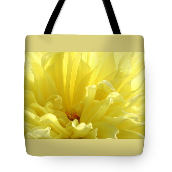 Yellow Dahlia Burst Tote Bag by Ben and Raisa Gertsberg