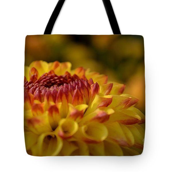 Yellow Dahlia Red Tips Tote Bag