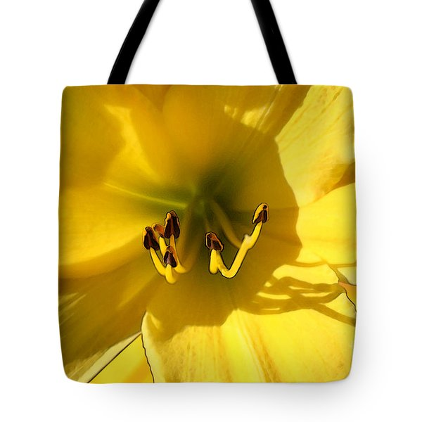Tote Bag featuring the digital art Yellow Daylily by E B Schmidt