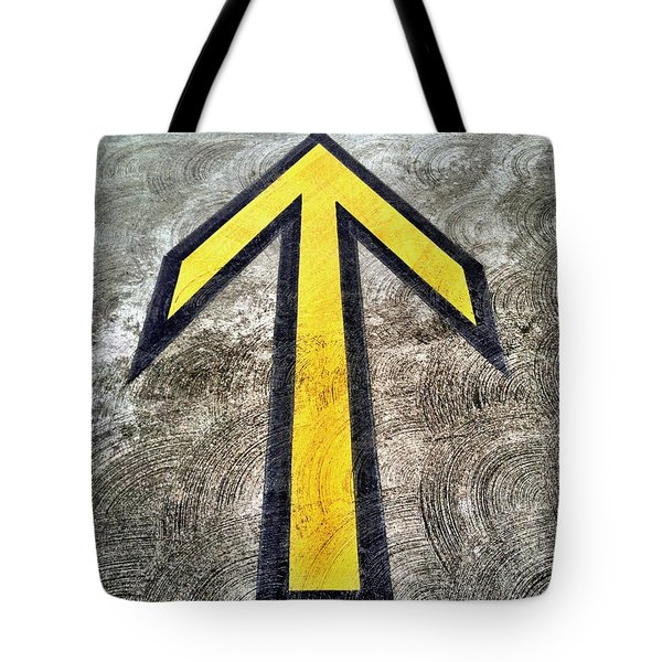 Yellow Directional Arrow On Pavement Tote Bag