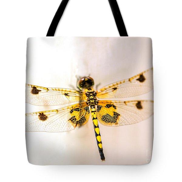 Yellow Dragonfly Pantala Flavescens Tote Bag by Iris Richardson