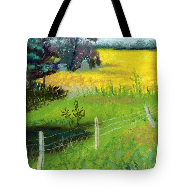 Yellow Field Tote Bag by Tanya Provines