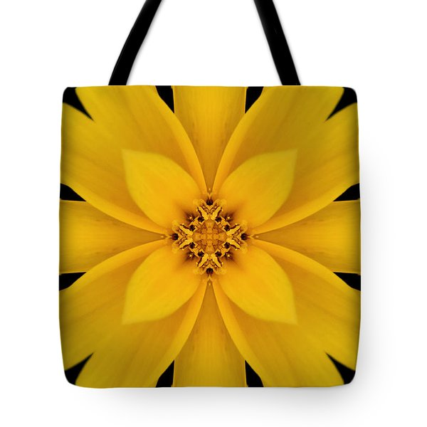 Yellow Flower Kaleidoscope Abstract Tote Bag by Don Johnson