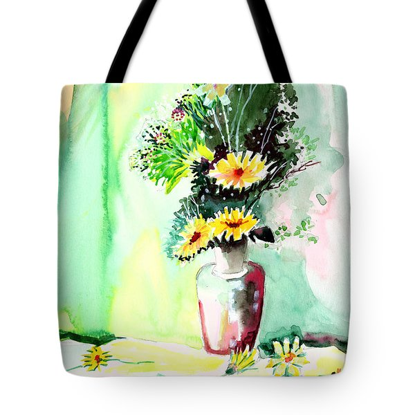 Yellow Flowers 1 Tote Bag by Anil Nene