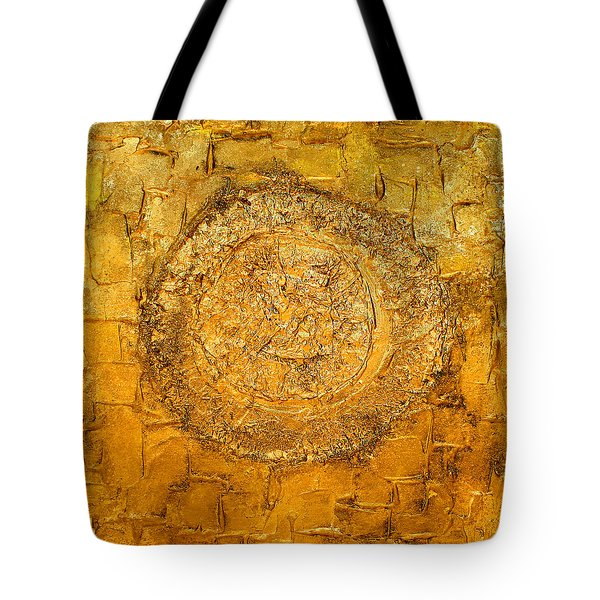 Yellow Gold Mixed Media Triptych Part 1 Tote Bag