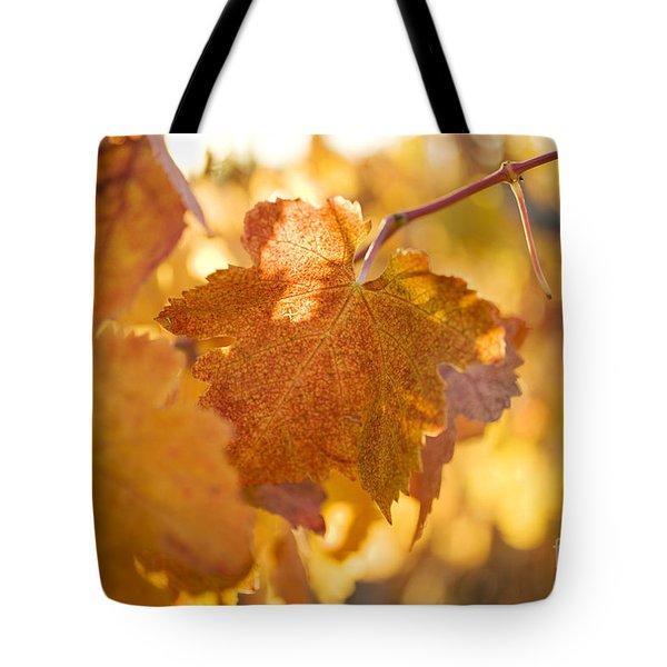 Yellow Grape Leaves Tote Bag