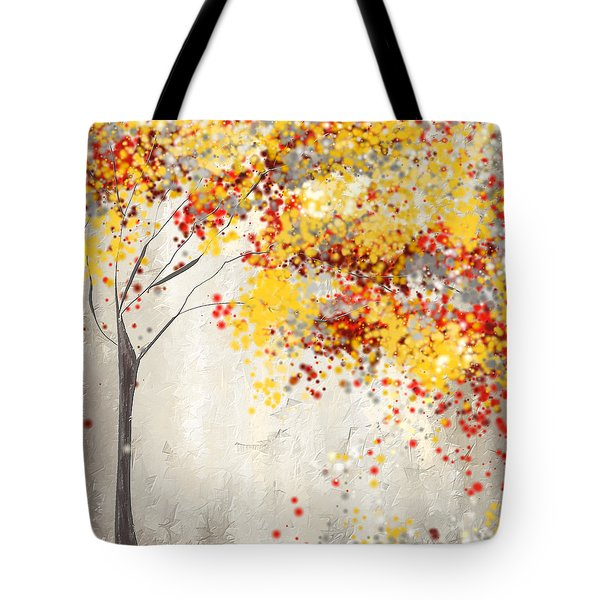 Yellow Gray And Red Tote Bag