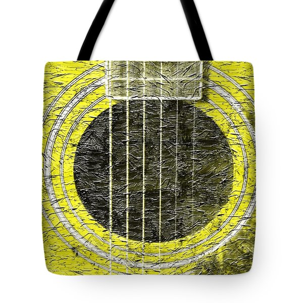 Yellow Guitar - Digital Painting - Music Tote Bag by Barbara Griffin
