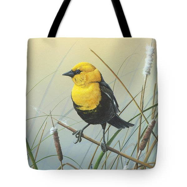 Tote Bag featuring the painting Yellow-headed Black Bird by Mike Brown