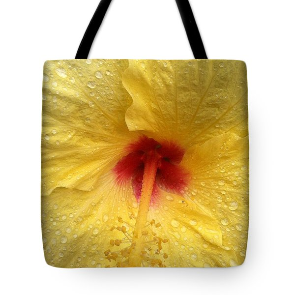 Tote Bag featuring the photograph Yellow Hibiscus In The Rain II by Alohi Fujimoto