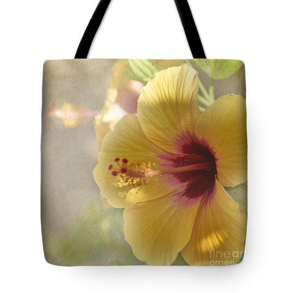 Yellow Hibiscus Tote Bag by Peggy Hughes