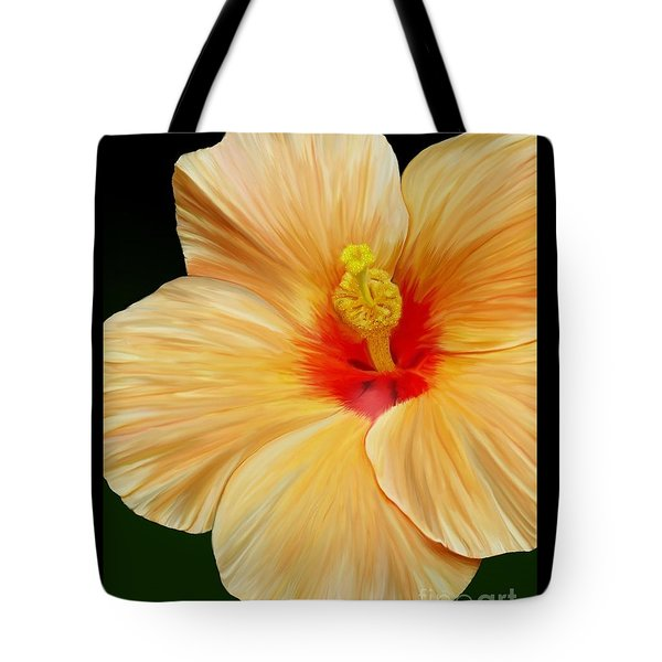 Tote Bag featuring the painting Yellow Hibiscus by Rand Herron