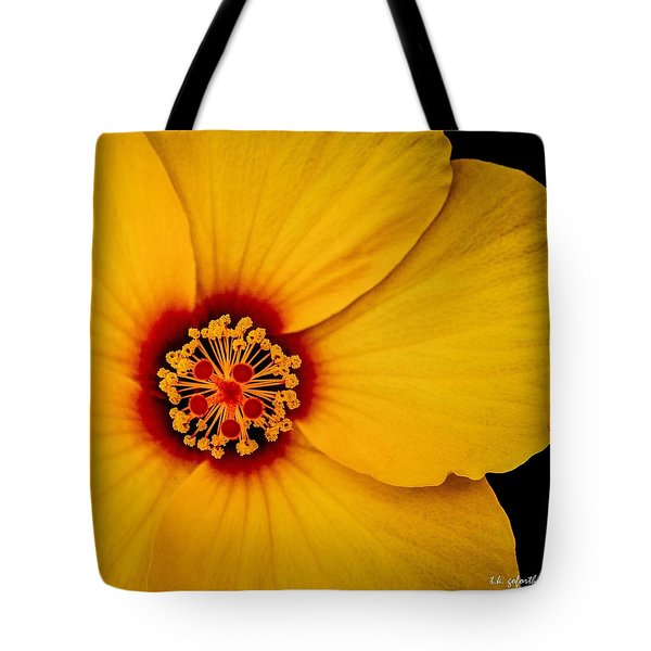 Yellow Hibuscus Too Squared Tote Bag by TK Goforth