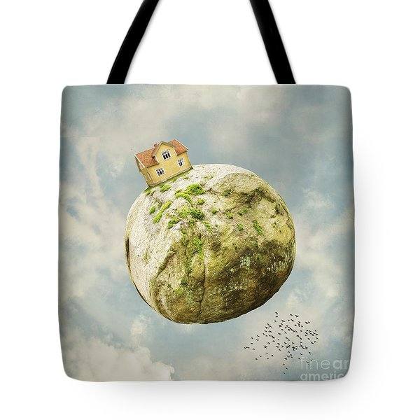 Yellow House In The Sky Tote Bag