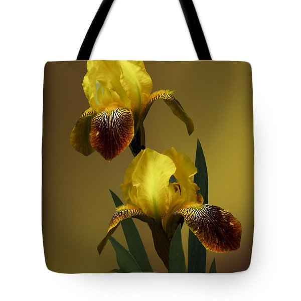 Tote Bag featuring the photograph Yellow Iris by Judy  Johnson