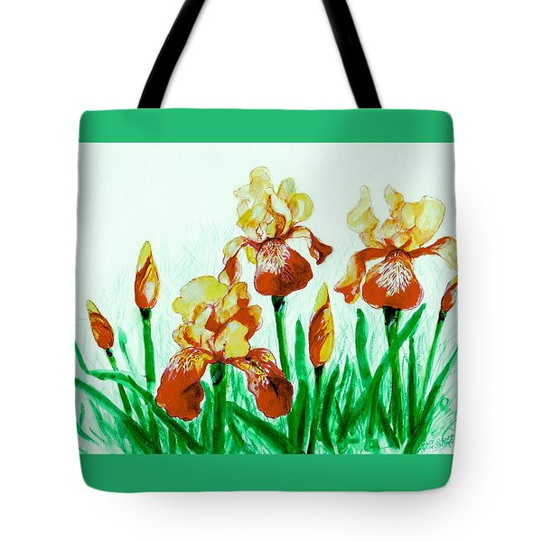 Yellow Irises Tote Bag by Mary Armstrong