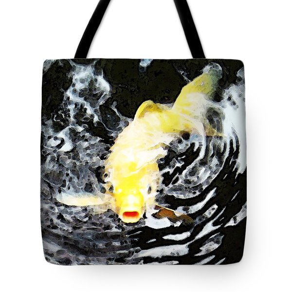 Yellow Koi - Black And White Art Tote Bag by Sharon Cummings