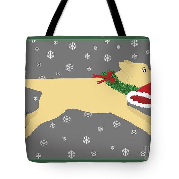 Yellow Labrador Dog Steals Santa's Hat Tote Bag