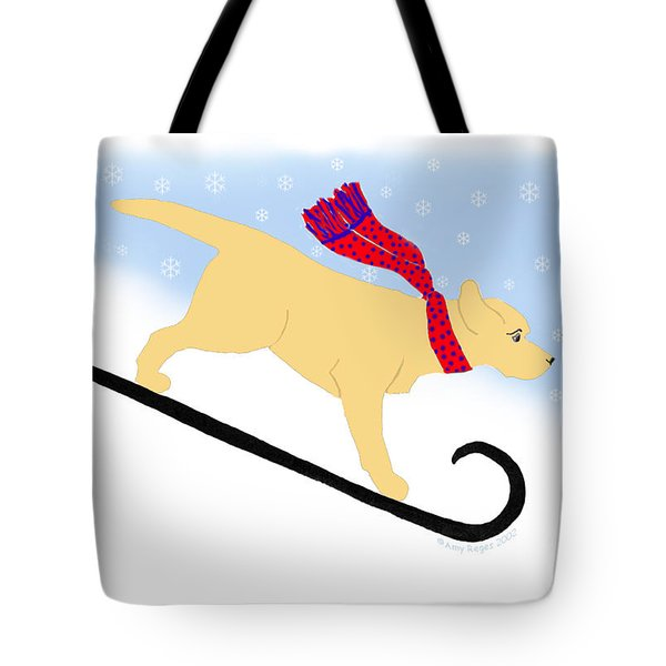 Yellow Labrador Snowboard Dog Tote Bag