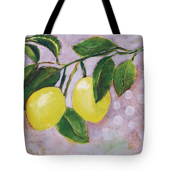 Yellow Lemons On Purple Orchid Tote Bag by Jen Norton