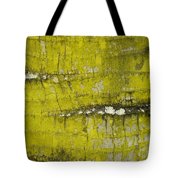 Yellow Lichen On Palm Trunk Tote Bag