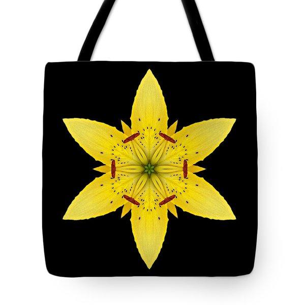 Yellow Lily I Flower Mandala Tote Bag