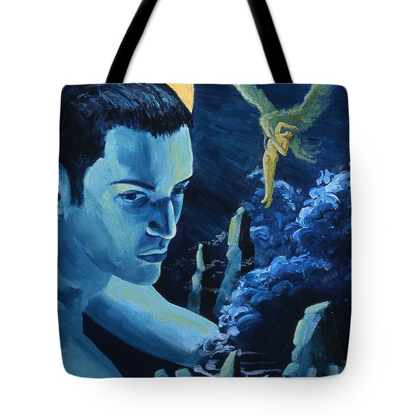 Tote Bag featuring the painting Yellow Moon by Rene Capone