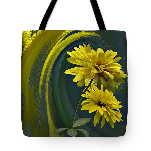 Tote Bag featuring the digital art Yellow Mum Fantasy by Judy  Johnson