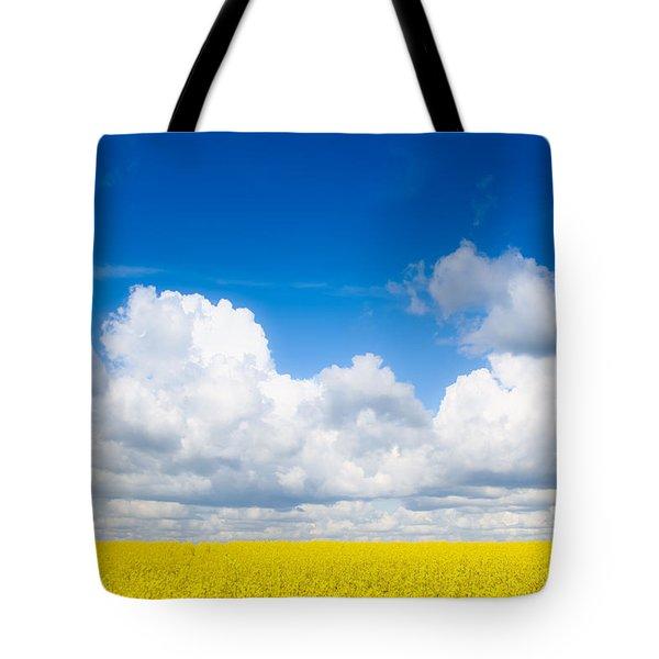 Yellow Mustard Fields Under A Deep Blue Sky Tote Bag
